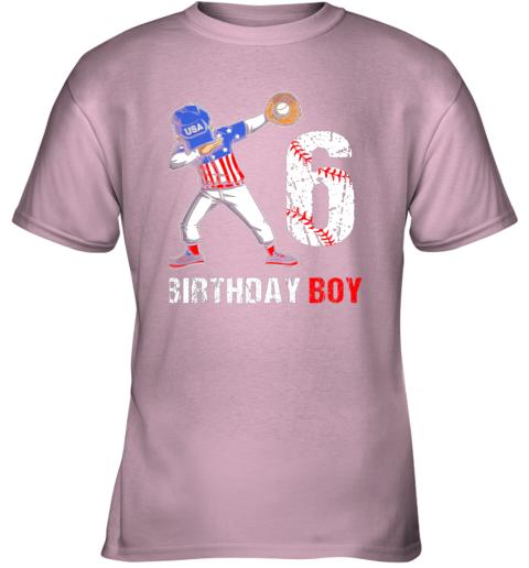 vqcl kids 6 years old 6th birthday baseball dabbing shirt gift party youth t shirt 26 front light pink