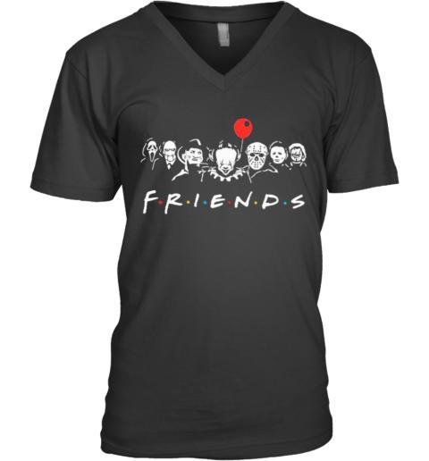 Halloween Horror Characters Balloon Friends V-Neck T-Shirt