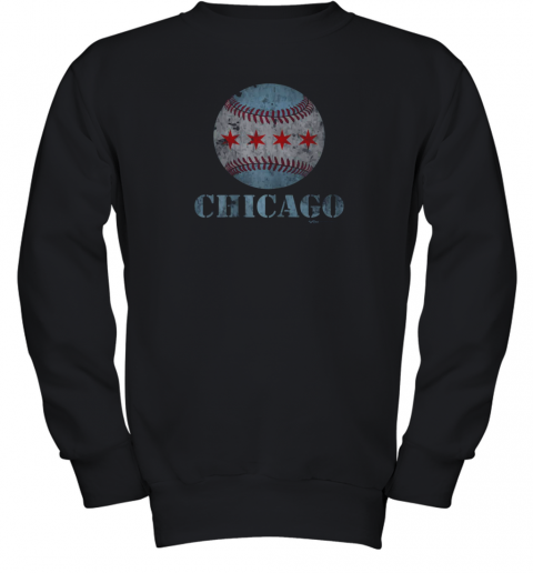 Vintage Chicago Baseball Flag Youth Sweatshirt