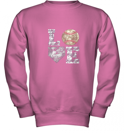 udrq baseball distressed ball cute dad mom love gift youth sweatshirt 47 front safety pink