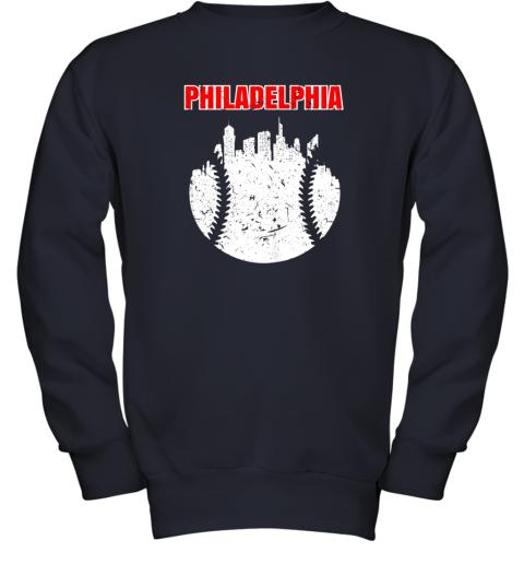 l46p vintage philadelphia cityscape baseball retro youth sweatshirt 47 front navy