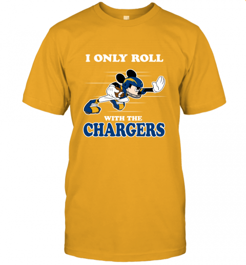 NFL Mickey Mouse I Only Roll With Los Angeles Chargers Unisex Jersey Tee