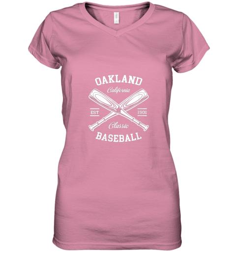 w5i9 oakland baseball classic vintage california retro fans gift women v neck t shirt 39 front azalea