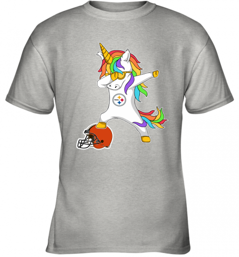 wbpf football dabbing unicorn steps on helmet pittsburgh steelers youth t shirt 26 front ash