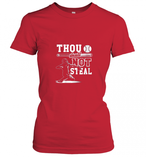 mlpv funny baseball thou shall not steal baseball player ladies t shirt 20 front red