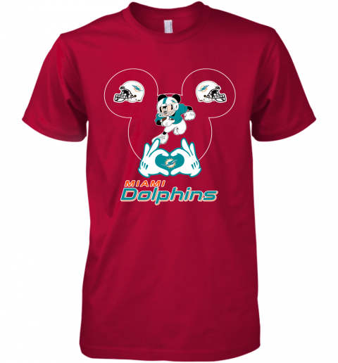 gqrj i love the dolphins mickey mouse miami dolphins premium guys tee 5 front red