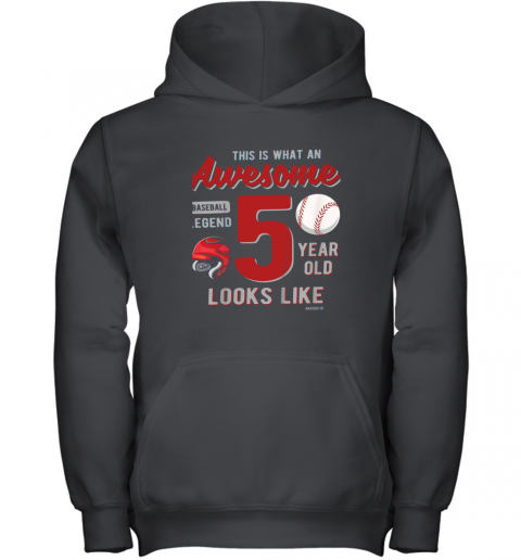 Kids 5th Birthday Gift Awesome 5 Year Old Baseball Legend Youth Hoodie