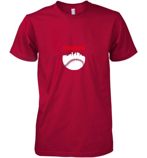 qkt0 retro minnesota baseball minneapolis cityscape vintage shirt premium guys tee 5 front red