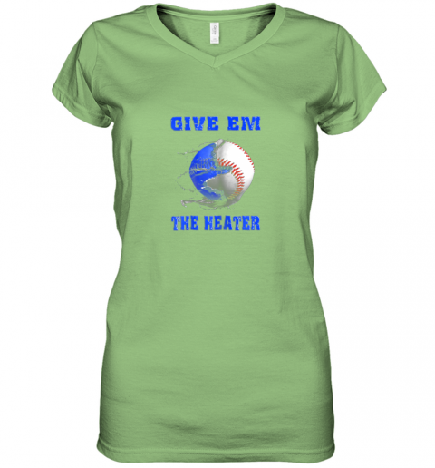 x4wn give em the heater baseball pitcher women v neck t shirt 39 front lime