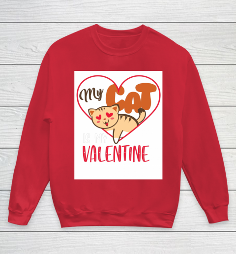 Cute My Cat Is My Valentine Cat Lover Valentines Day Gift Youth Sweatshirt 7