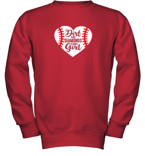 pkvy dirt and diamonds kinda girl baseball youth sweatshirt 47 front red