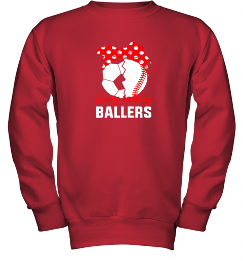 8dow busy raising a ballerfunny baseball soccer mom youth sweatshirt 47 front red