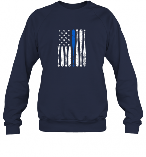 kazs thin blue line leo usa flag police support baseball bat sweatshirt 35 front navy