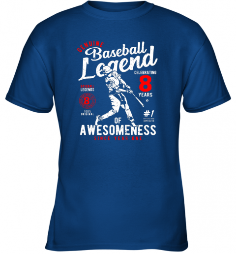 rgm8 kids 8th birthday gift baseball legend 8 years youth t shirt 26 front royal