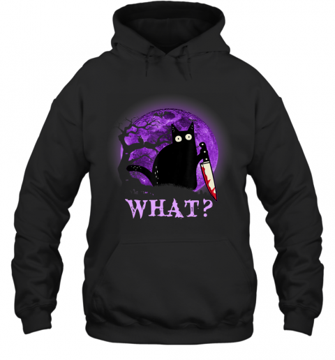 What Murderous Cat Holding Knife Funny Halloween Costume Hoodie