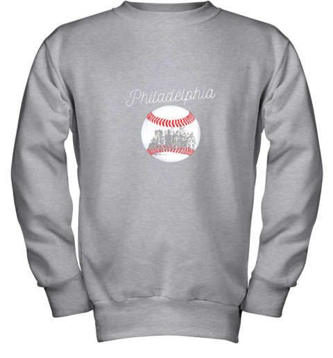 1ghk philadelphia baseball philly tshirt ball and skyline design youth sweatshirt 47 front sport grey
