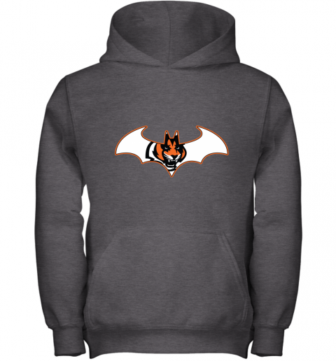 w14b we are the cincinnati bengals batman nfl mashup youth hoodie 43 front dark heather