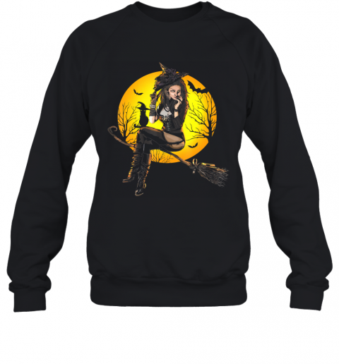 Scary Sexy Witch with Black Cat Halloween Mythology Dark Art Sweatshirt