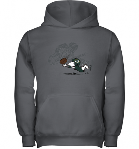 Green Bay Packers Snoopy Plays The Football Game Youth Hoodie