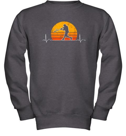 cjng vintage baseball heartbeat retro sunset swinging batter gift youth sweatshirt 47 front dark heather