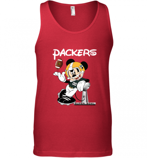 lkra mickey packers taking the super bowl trophy football unisex tank 17 front red