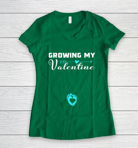 Cute Growing my Valentine Gift for Women pregnancy Women's V-Neck T-Shirt 3