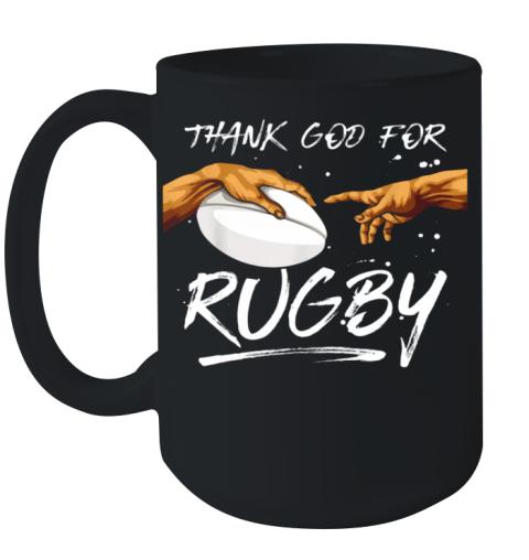 Michelangelos Hände Thank God For Rugby Rugger Ceramic Mug 15oz