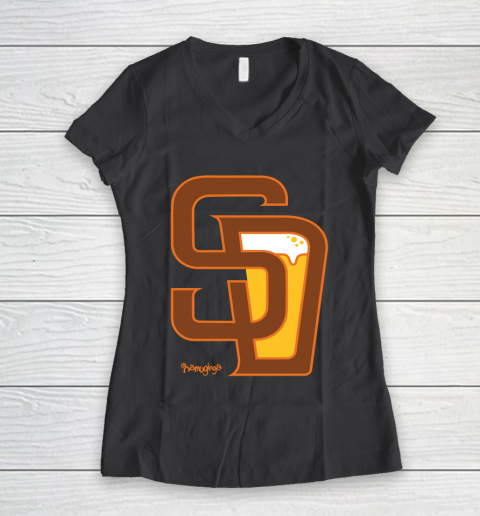 Beer Lover Funny Shirt San Diego Baseball And Beer Women's V-Neck T-Shirt 6