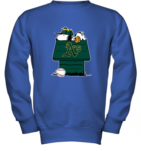 hpbe oakland athletics snoopy and woodstock resting together mlb youth sweatshirt 47 front royal
