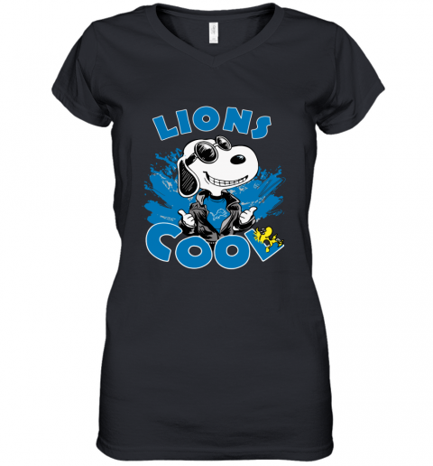 DETROIT LIONS Snoopy Joe Cool We're Awesome Women's V-Neck T-Shirt