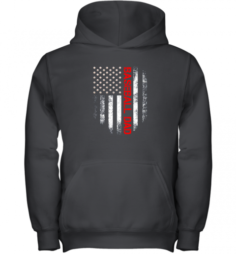 rm5n vintage usa american flag proud baseball dad player youth hoodie 43 front black