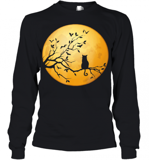 Silhouette Cat in Tree Full Moon Halloween Youth Long Sleeve