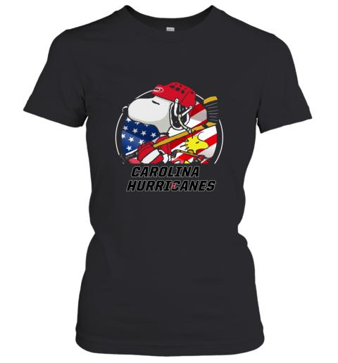 Carolina Hurricanes  Snoopy And Woodstock NHL Women's T-Shirt