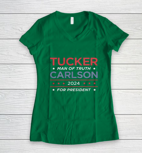 Vote For Tucker Carlson 2024 Presidential Election Campaign Women's V-Neck T-Shirt 3
