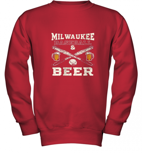 b7vl love milwaukee love baseball youth sweatshirt 47 front red