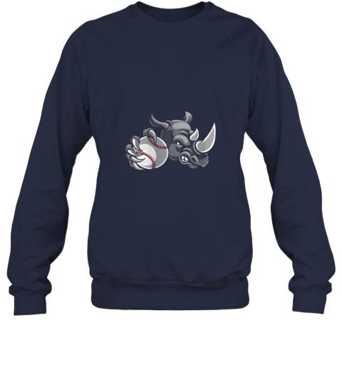 qexm rhino baseball ball sports mascot sweatshirt 35 front navy