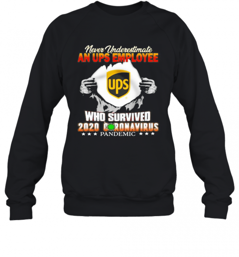 Blood Insides Never Underestimate A Ups Employee Who Survived 2020 Coronavirus Pandemic Sweatshirt