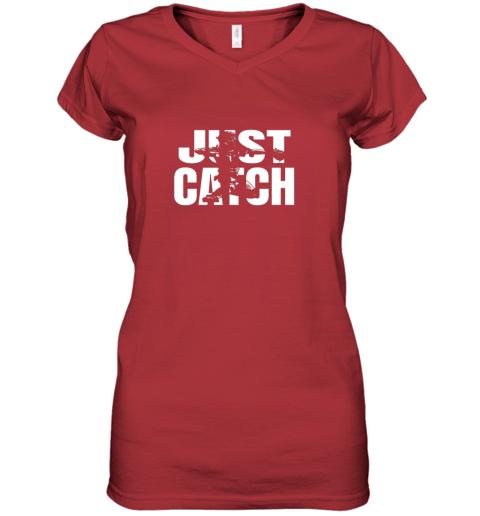 cppe just catch baseball catchers long sleeve shirt baseballisms women v neck t shirt 39 front red