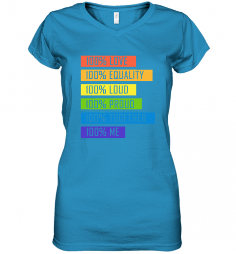 opom 100 love equality loud proud together 100 me lgbt women v neck t shirt 39 front sapphire