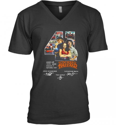 41 Years Of 1979 2020 The Dukes Of Hazzard Signatures V-Neck T-Shirt