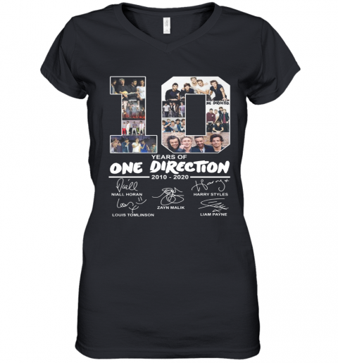 10 Years Of One Direction 2010 2020 Signature Women's V-Neck T-Shirt