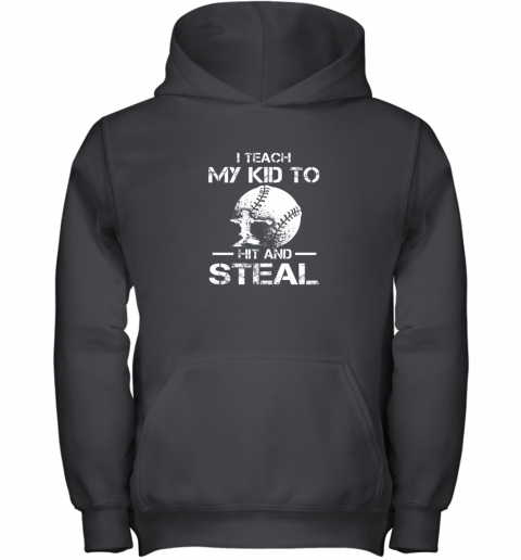 Dad Coach I Teach My Kids To Hit Steal Baseball Gift Youth Hoodie