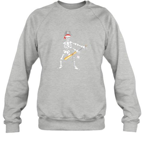 y4tm skeleton pirate floss dance with baseball shirt halloween sweatshirt 35 front sport grey