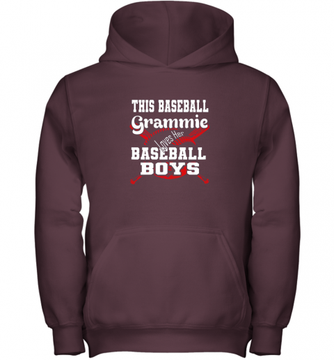glpv this baseball grammie loves her baseball boys youth hoodie 43 front maroon