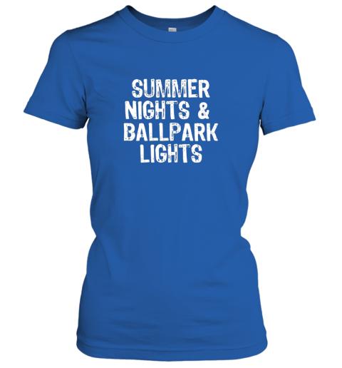 pby6 summer nights and ballpark lights baseball softball ladies t shirt 20 front royal