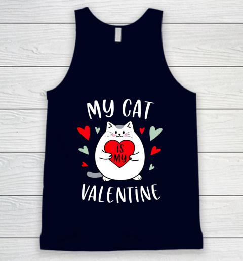 My Cat Is My Valentine Kitten Lover Heart Valentines Day Tank Top 2