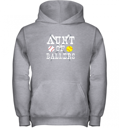 yyra vintage aunt of ballers shirt funny baseball softball love youth hoodie 43 front sport grey