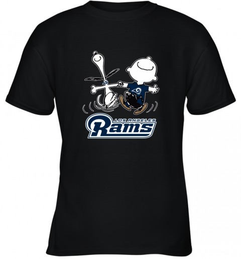 Snoopy And Charlie Brown Happy Los Angeles Rams Youth T-Shirt