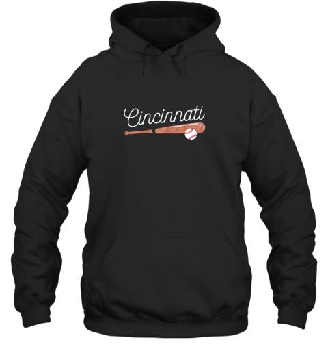 Cincinnati Baseball Tshirt Classic Ball and Bat Design Hoodie