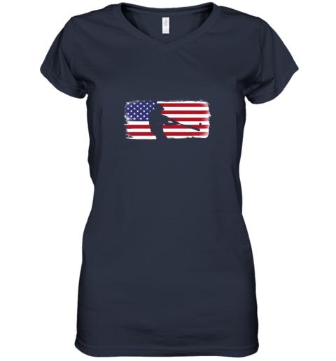 ysvs usa american flag baseball player perfect gift women v neck t shirt 39 front navy